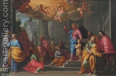 Christ blessing the Children Matthew, XIX 13-15 by (after) Cortona, Pietro da (Berrettini) - Reproduction Oil Painting