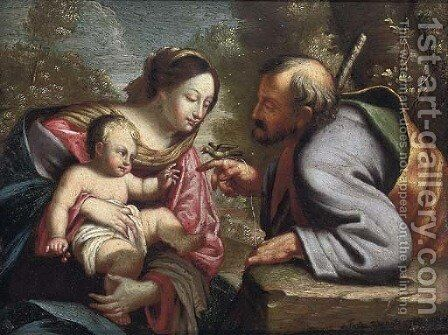 The Holy Family by (after) Pietro Da Cortona (Barrettini) - Reproduction Oil Painting