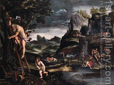 Adam and Eve after the Fall by (after) Pietro Paolo Bonzi - Reproduction Oil Painting