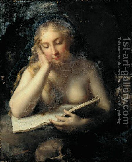 The Penitent Magdalene by (after) Pompeo Gerolamo Batoni - Reproduction Oil Painting
