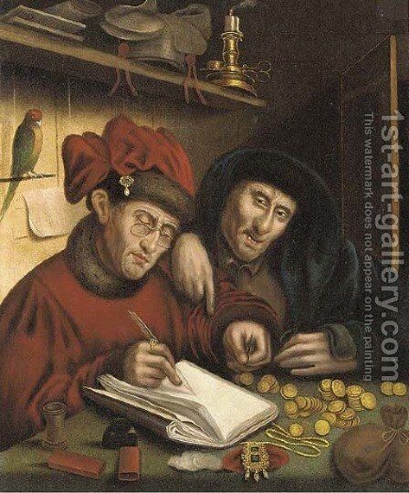 The tax collectors by (after) Quinten Massy - Reproduction Oil Painting