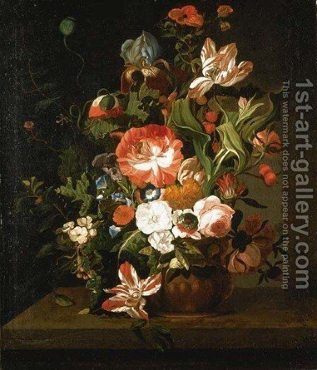 Tulips, roses, morning glory, an iris and other flowers in an urn on a stone ledge by (after) Rachel Ruysch - Reproduction Oil Painting