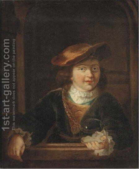 A boy in a cap wearing a gold chain holding a bubble, at a casement by (after) Rembrandt Van Rijn - Reproduction Oil Painting