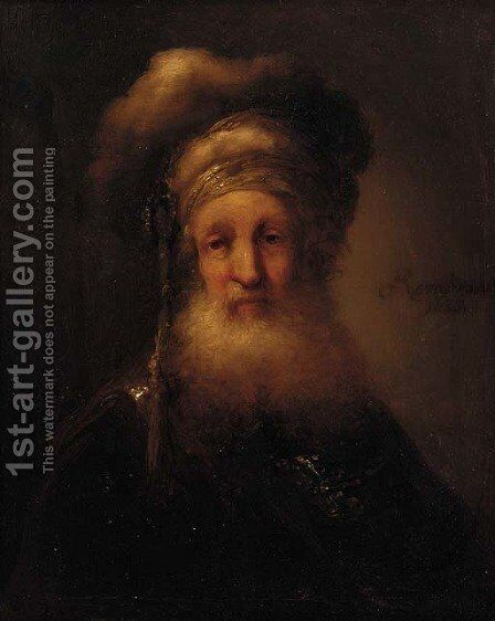 A man, small bust-length, in oriental costume by (after) Rembrandt Van Rijn - Reproduction Oil Painting