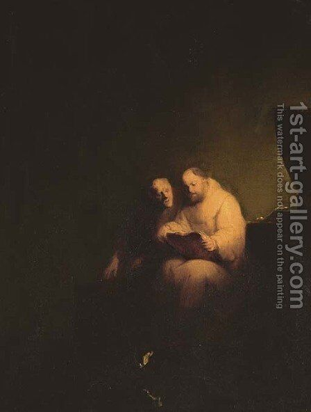 Monks reading in a chapel interior by (after) Rembrandt Van Rijn - Reproduction Oil Painting