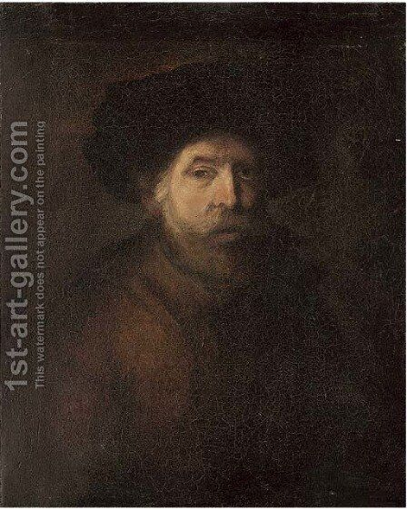Portrait of a gentleman 3 by (after) Rembrandt Van Rijn - Reproduction Oil Painting