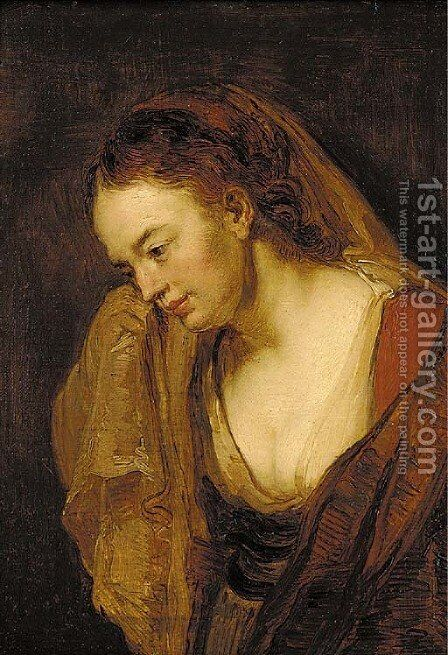 Portrait of a young woman by (after) Rembrandt Van Rijn - Reproduction Oil Painting