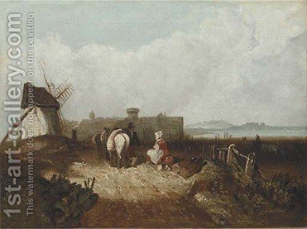Figures resting by a windmill, a fortified town beyond by (after) Richard Parkes Bonington - Reproduction Oil Painting