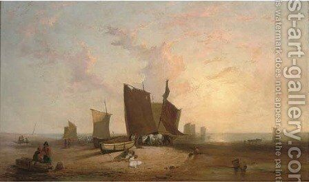 Low tide, fisherfolk on a beach unloading the catch by (after) Richard Parkes Bonington - Reproduction Oil Painting