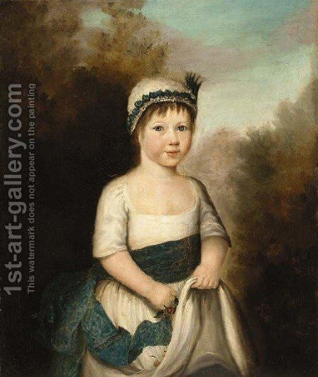 Portrait of a girl by (after) Richard Phelps - Reproduction Oil Painting