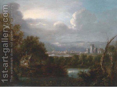 A cottage at the bend of the river, ruins and a town beyond by (after) Richard Wilson - Reproduction Oil Painting