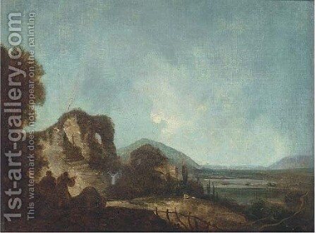 Figures in a landscape, with ruins beyond by (after) Richard Wilson - Reproduction Oil Painting
