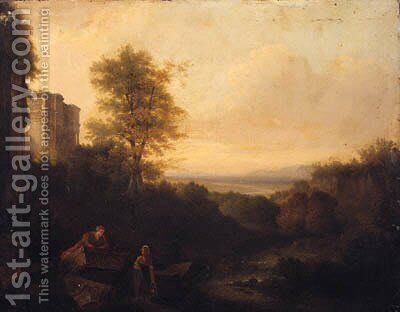 Figures Resting In A Classical Landscape by (after) Of Richard Wilson - Reproduction Oil Painting