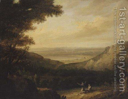 Saint Francis preaching in a landscape, a bay beyond by (after) Richard Wilson - Reproduction Oil Painting