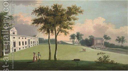 The south front of Wilton House and Palladian bridge to the east by (after) Richard Wilson - Reproduction Oil Painting