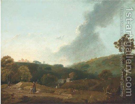 An Italianate landscape with figures by (after) Richard Wilson - Reproduction Oil Painting
