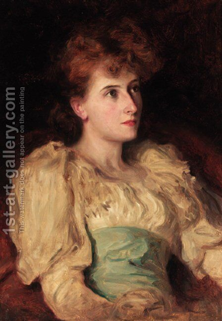 Portrait of a lady by (after) Robert Herman Sauber - Reproduction Oil Painting