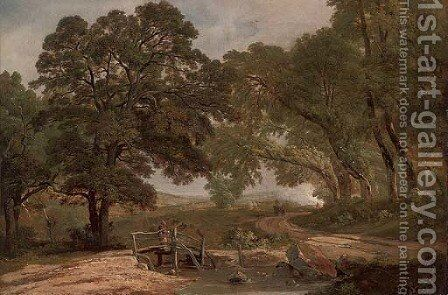 A figure beside a wooded pool by (after) Robert Ladbrooke - Reproduction Oil Painting