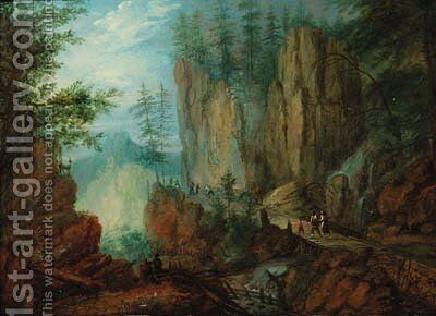 Travellers on an alpine pass by (after) Roelandt Jacobsz Savery - Reproduction Oil Painting