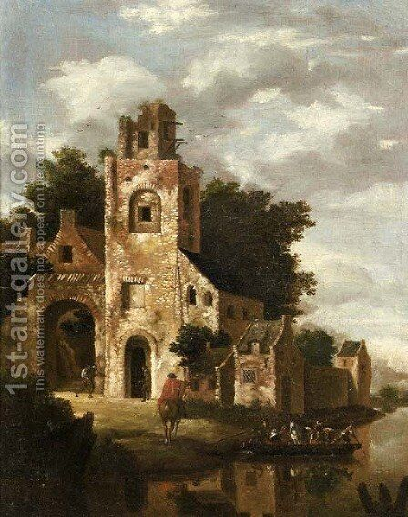 A ruined castle by a river, with a ferry setting out by (after) Roelof Jansz. Van Vries - Reproduction Oil Painting