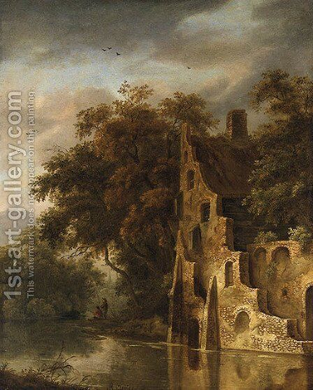 A wooded River Landscape with a Ruin, Anglers on a Bank beyond by (after) Roelof Van Vries - Reproduction Oil Painting