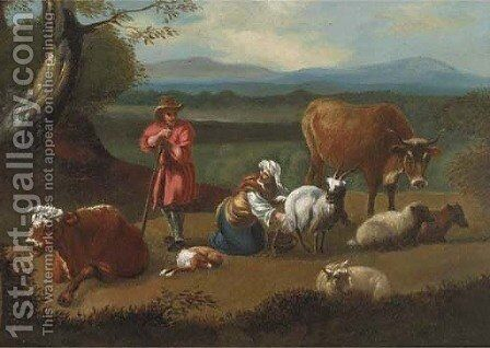 Milking the goat by (after) Rosa Da Tivoli - Reproduction Oil Painting