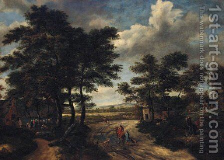 A wooded landscape with a hamlet and travellers on a track by (after) Salomon Rombouts - Reproduction Oil Painting