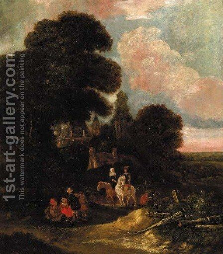 Falconers on a path, in a wood by (after) Salomon Rombouts - Reproduction Oil Painting