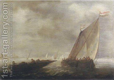 A sailing vessel and a rowing boat in a stiff breeze by (after) Salomon Van Ruysdael - Reproduction Oil Painting