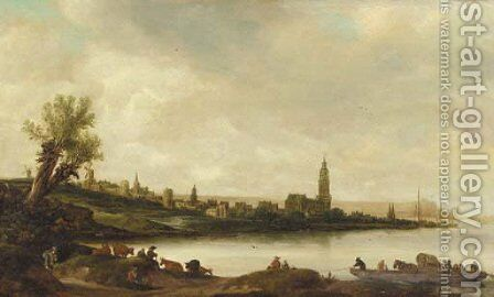 A view of Rhenen from the South West by (after) Salomon Van Ruysdael - Reproduction Oil Painting