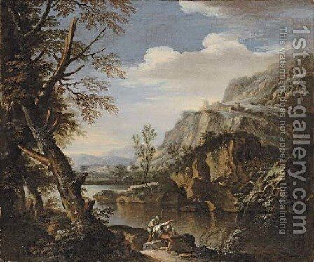 A mountainous wooded landscape with soldiers on a river bank by (after) Rosa, Salvator - Reproduction Oil Painting