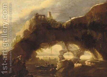 A rocky coastline with anglers before a natural arch by (after) Rosa, Salvator - Reproduction Oil Painting