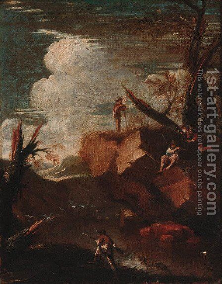 Banditti in a rocky landscape by (after) Rosa, Salvator - Reproduction Oil Painting
