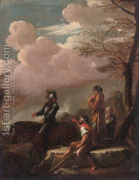 Brigands in a landscape by (after) Rosa, Salvator - Reproduction Oil Painting
