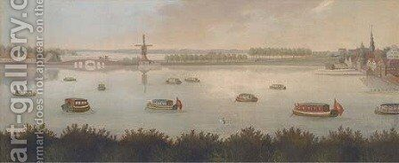 Barges on a lagoon by a Dutch settlement by (after) Samuel Scott - Reproduction Oil Painting