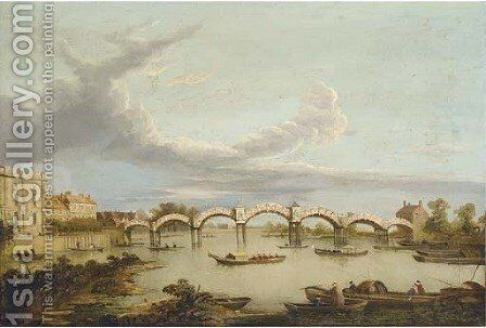 The Pagoda Bridge at Hampton Court by (after) Samuel Scott - Reproduction Oil Painting