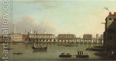 View of the City of London from the south bank of the Thames showing London Bridge by (after) Samuel Scott - Reproduction Oil Painting