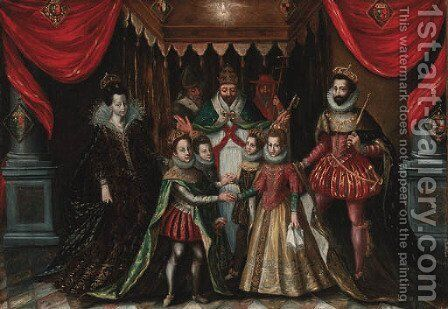 The double marriage of Louis XIII of France with Anne of Austria and Philip, Prince of Asturias, with Elizabeth of France by (after) Alonso Sanchez Coello - Reproduction Oil Painting