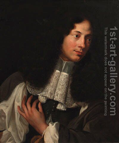 Portrait of a gentleman 2 by (after) Sebastian Bourdon - Reproduction Oil Painting