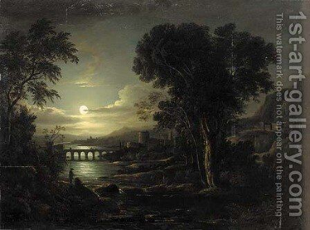 Figures in a moonlit Italianate river landscape by (after) Sebastian Pether - Reproduction Oil Painting
