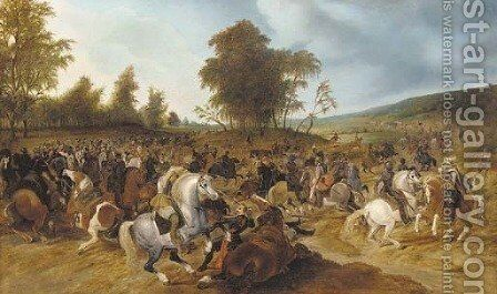 A battle scene by (after) Sebastian Vrancx - Reproduction Oil Painting