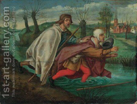 Blind leading the blind by (after) Sebastian Vrancx - Reproduction Oil Painting
