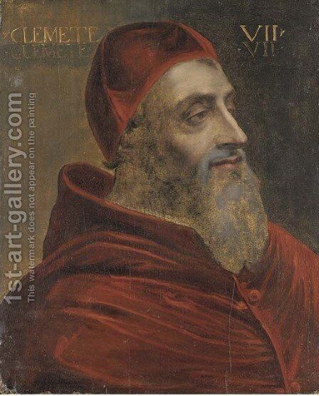 Portrait of Pope Clement VII by (after) Sebastiano Del Piombo (Luciani) - Reproduction Oil Painting