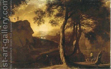 A mountainous landscape with anglers and a drover and his cattle on a hill top by (after) Sebastiano Ricci - Reproduction Oil Painting