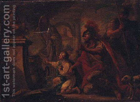 A Roman warrior and a boy before a sacrificial altar by (after) Sebastiano Ricci - Reproduction Oil Painting