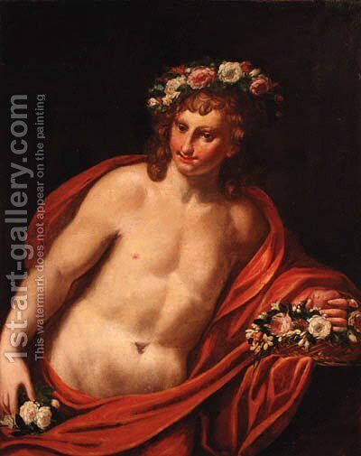 A young man with a floral wreath with a basket of flowers, holding a heart by (after) Sebastiano Ricci - Reproduction Oil Painting