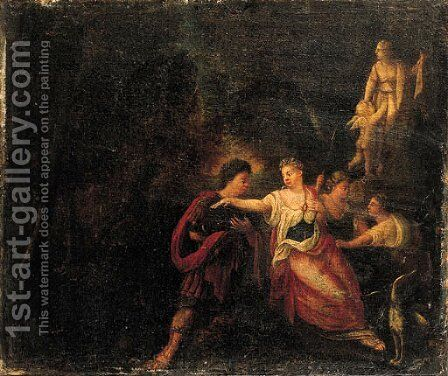 Diana and Actaeon in a landscape by (after) Sebastian Bourdon - Reproduction Oil Painting
