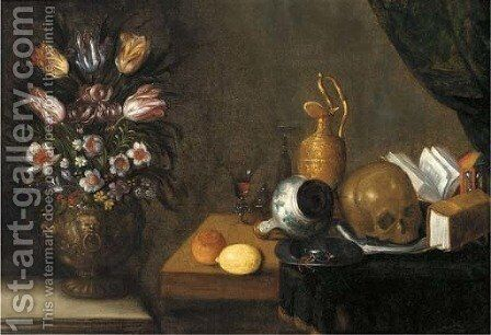A vanitas still life with wine glasses by (after) Sebastien Stoskopff - Reproduction Oil Painting