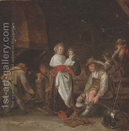 A cavalier putting his boots on and other figures in an guardroom by (after) Simon Kick - Reproduction Oil Painting