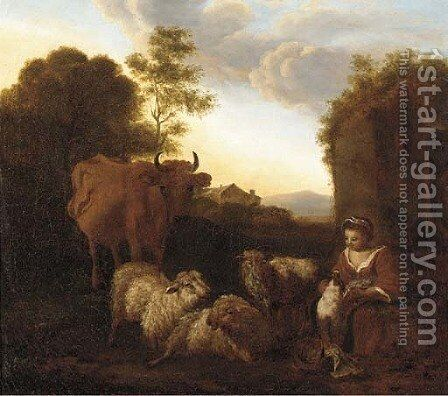 A Shepherdess with her livestock at dusk by (after) Simon Van Der Does - Reproduction Oil Painting
